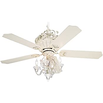 Amazon 52 casa chic rubbed white ceiling fan with 4 light kit 52 casa chic rubbed white ceiling fan with 4 light kit aloadofball Choice Image