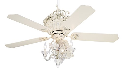 52' Casa Chic Rubbed White Ceiling Fan