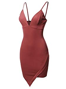 Made by Emma Elegant Sexy Asymmetric Design Cocktail Party Pencil Dress Marsala S