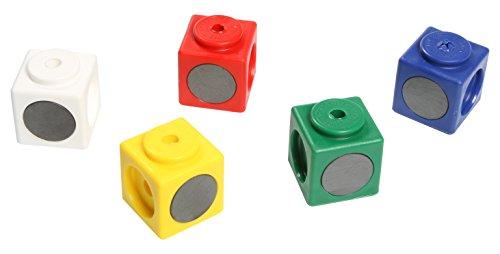 Dick-System 340010 10 magnetische Riesen Steckwürfel, Kantenlänge 3.4 cm, rot