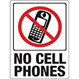 "Hy-Ko Plastic Sign White 9"" X 12"" No Cell Phones Polystyrene"