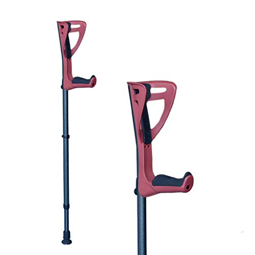 Underarm Crutch Walking Forearm Crutches for Adults and Youth,Adjustable Lightweight Ergonomic Handle with Comfy Grip,High Density Sturdy Aluminum,Red