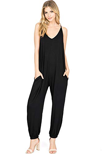 (LOVE STITCH Women's Juniors Terry Cloth V-Neck Harem Fit Jumper (S/M, Black))