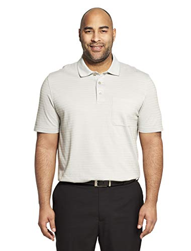 Van Heusen Men's Flex Short Sleeve Stretch Stripe Polo Shirt, Grey Full Moon, X-Large