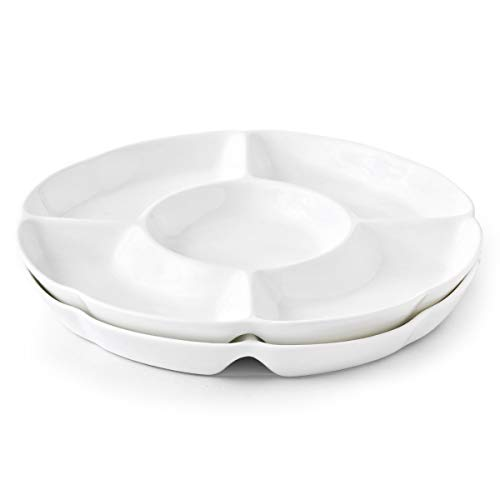 Chip & Dip Serving Set Porcelain Divided Serving Platter/Tray Perfect for Snack 9.4-inch White Dish, Set of 2 (9.4inch)