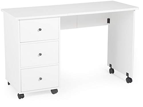 GHP 47″x19″x30″ White Melamine Veneer & Wood Portable Folding Sewing Desk w Casters