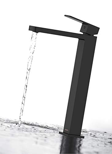 Matte Black Tall Faucet For Bathroom Sink-KANARY Bathroom Sink Faucet Lead Free Solid Brass Body Modern Single Handle Tall Body Basin Mixer Taps (Matte Black-2)