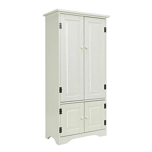 Thaweesuk Shop Accent Storage Cabinet Adjustable Shelves Antique 2 Door Floor Cabinet White MDF 24