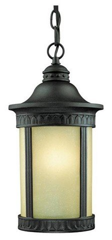 Westinghouse Castle - Westinghouse Lighting 6754500 One-Light Exterior Pendant Lantern, Textured Black Finish on Cast Aluminum with Amber Seeded Glass
