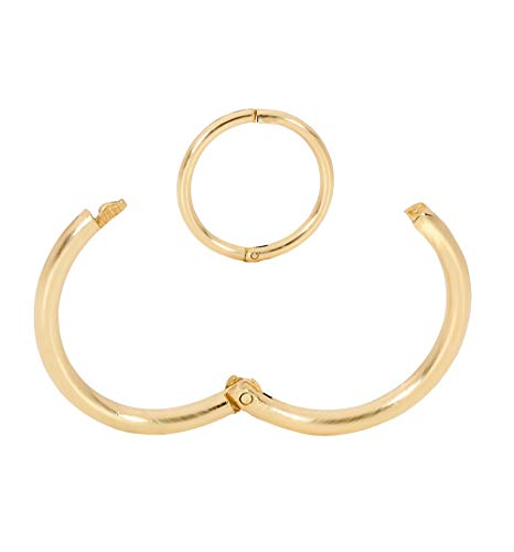9k Solid Ring - 365 Sleepers 1 Piece 9ct Yellow Gold 18G Hinged Hoop Nose Lip Earring Made in Australia 8mm / 10mm - Sold Individually