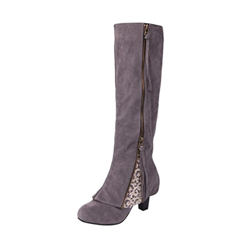 Women Boots, ღ Ninasill ღ Exclusive Wedge Buckle Biker Ankle Trim high-heeled Zip Lace Ankle Boot Shoes (8.5, Gray)