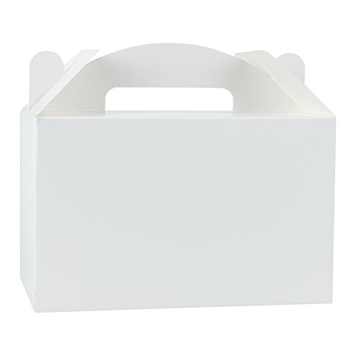 LaRibbons 12 Pack Treat Gift Boxes - 9.5 x 5 x 5 inches White Paper Box Recycled Kraft Gift Box Birthday Party Shower Favor Box
