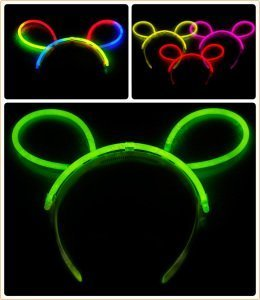 Baby Glow Stick Costume (12 PC Light Up LED Mouse Ears and Polka Dot Bows Headbands - Various Styles by Mammoth Sales (Glow Stick Mouse Ears))