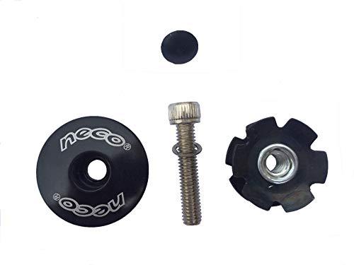 - Neco 1-1/8 inch MTB Mountain Road Bike Headset Stem Plug Alloy Top Cap Bolt + Star Nut (Black)