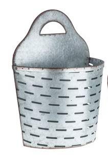 Large Galvanized Metal Olive Wall Half Bucket