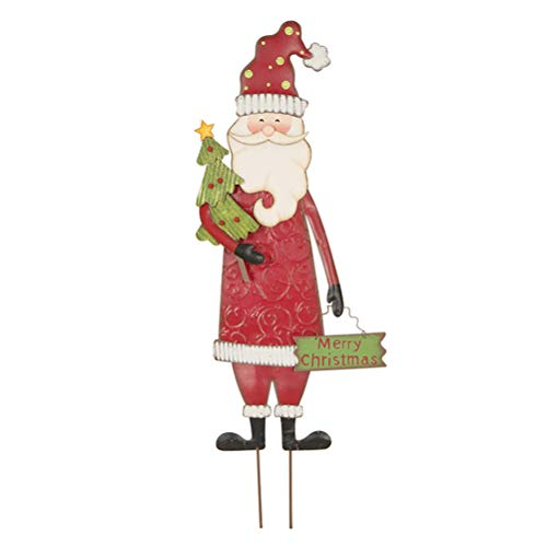 Glitzhome Santa Garden Stakes, Metal Garden Santa Sign Christmas Ornaments Yard Stakes Lawn Patio Decor for Outdoor Stake Indoor Standing Decorations 36″ H