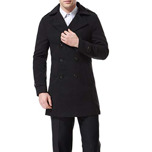 Men's Trenchcoat Double Breasted Overcoat Pea Coat Classic Wool Blend Slim Fit,Black,Medium