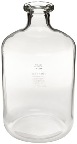 Corning Pyrex 1596-19L Glass 19 L Solution Graduated Carboy Bottle, with Tooled Neck