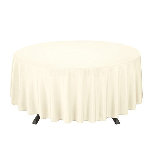 "Perfectmaze 10pc Rectangle Round Tablecloths for Home, Wedding, Holidays; Birthday Party, Bridal / Baby Shower, or Restaurant Use (Round 120"", Ivory)"