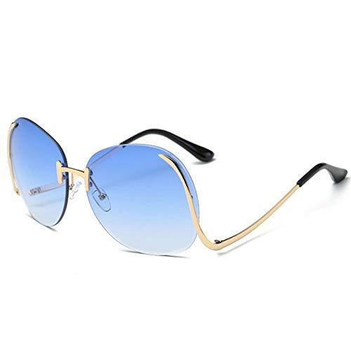SFNJL Oversized Sunglasses Women Vintage Frameless Curved Legs Metal Frame Sun Glasses Summer UV400 Sunglasses -