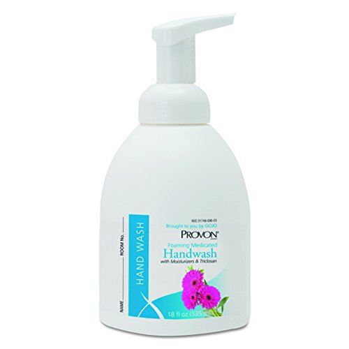 PROVON Foaming Medicated Handwash Foam with Moisturizers and Triclosan, Floral Fragrance, 18 fl oz Handwasb Counter Top Pump Bottles (Case of 4) - 5788-04