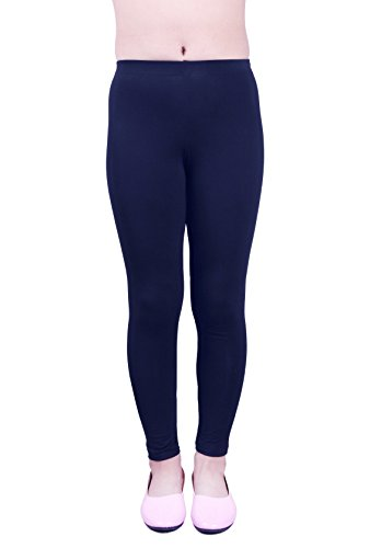 IRELIA Girls Cotton Ankel Length Solid Leggings for School or Play Navy XS ()