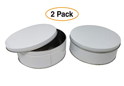 Premium Cookie Tin (2 Pack) Pure White, Elegant Classy Empty - Cookie Gift Tins, Round, Extra Thick Steel
