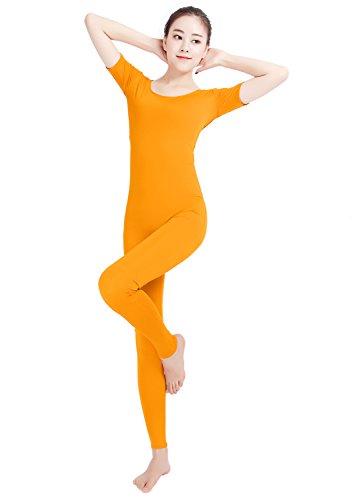 Texmex Unisex Lycra Bodysuit Short Sleeve Unitard One piece Jumpsuits Orange M