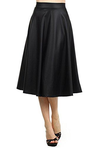Modern Kiwi Matte Liquid Pleated Midi Flare Skirt Black Small