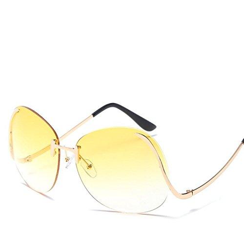 LANZHI Sol Protection Uv400 UV Color HD Gafas yellowing Plateado Lady Blanco frame Frameless Retro Marco de gradually 8 Golden Fashion rwRrqE7