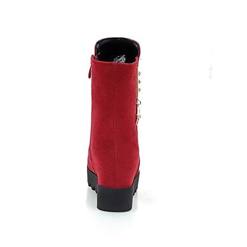 Glass Xi Shi AdeeSu Low Girls Red Diamond Velvet Boots Metal Ornament Heels qxSUnntp0