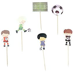 iMagitek 48 Pcs Soccer Sport Boys Cupcake Toppers Picks Boys Birthday Party, Baby Shower, Soccer Theme Party Cake Decorations