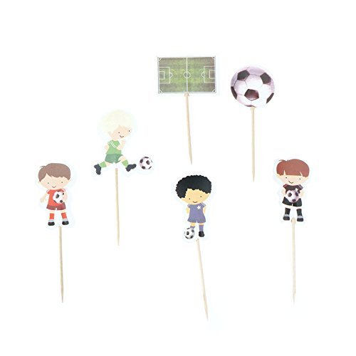 iMagitek 48 Pcs Soccer Sport Boys Cupcake Toppers Picks for Boys Birthday Party, Baby Shower, Soccer Theme Party Cake Decorations ()