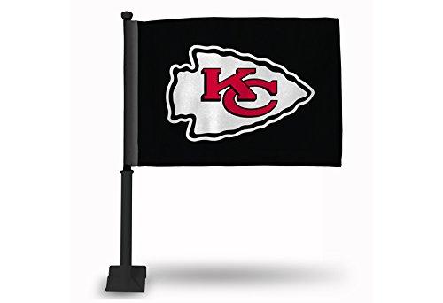 Rico NFL Kansas City Chiefs Car Flag, Black, with Black Pole - Football Car Flag
