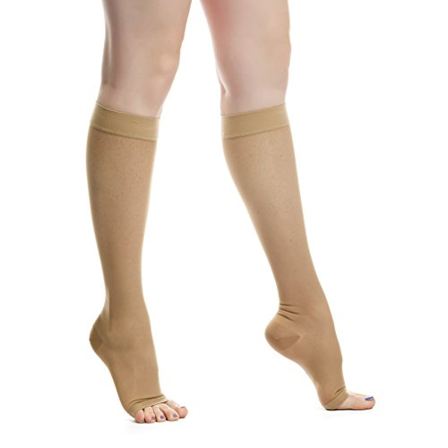 EvoNation Women's USA Made Open Toe Sheer Graduated Compression Socks 20-30 mmHg Firm Pressure Medical Quality Ladies Knee High Toeless Support Stockings Circulation Hose (Small, Tan Nude Beige) Photo #3