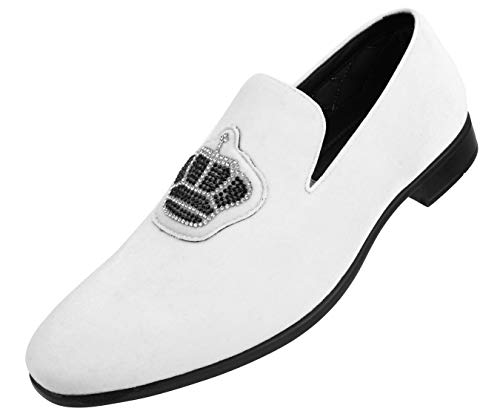 Groom Wedding Shoes - Amali Men's Faux Velvet Slip On Loafer with Royal Crown Ornament Adorned with Jewels Dress Shoe, Style Crown White