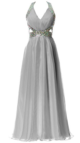 MACloth Women Halter V Neck Long Homecoming Dress Wedding Party Formal Ball Gown Plateado