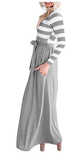 Maxi A 3 Casuale Vestito Scollo Jaycargogo Womens Righe Con 4 Tasca Gery Manica Tw1HInx