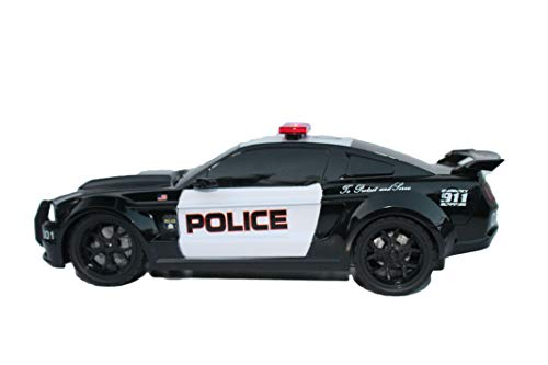(XQ Extreme Machines 1:18 Ford Mustang 911 Police Car Full Function Vehicle Radio Control With Tri-band 27 Mhz Channel For Kids Age 8+)