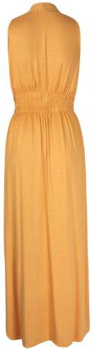 Neuf Grecque Femmes Longue Col t Manche Style Extensible Sans Long Robe Femmes V Moutarde rSqtzS