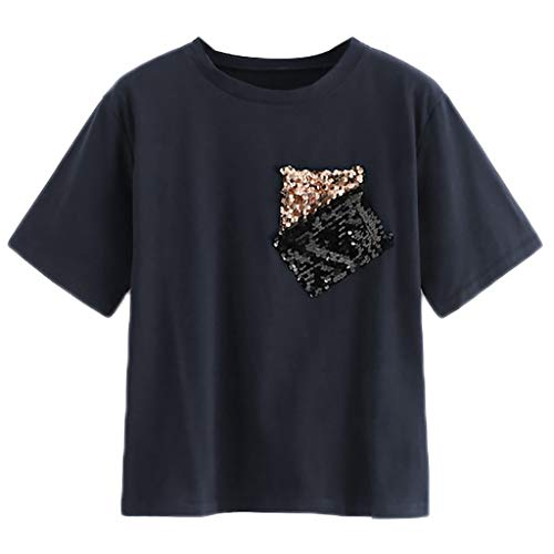 T Shirts for Women,❤️TWinmar Ladies Casual Contrast Sequin Tops Loose Short Sleeve Round Neck Blouse with Pocket Dark Blue