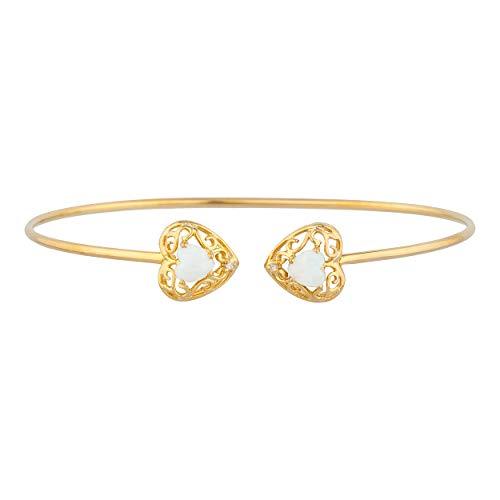 (Genuine Opal & Diamond Love Engraved Heart Bangle Bracelet 14Kt Yellow Gold Rose Gold Silver)