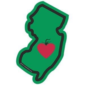 Heart in New Jersey Sticker Vinyl Decal Label Stickers, Die-Cut Shape for Water Bottle Laptop Luggage Bike Laptop Car Bumper Helmet Waterproof Show Love Pride Local NJ Garden State What Exit