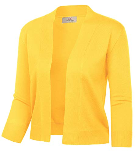 (GRACE KARIN Women's Classic Sweater Open Front Sweater 3/4 Sleeve Cropped Cardigans (Yellow,S)