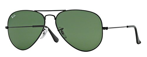 Ray-Ban RB3025 (L2823) Black/Gray Green 58mm, Sunglasses Bundle with original case, cloth, booklet and accessories (6 items) (Lens Max Polarized Black Grey)