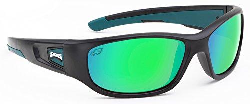 Officially Licensed NFL Sunglasses, Philadelphia Eagles, 3D Logo on Temple - 100% UVA, UVB & UVC - E Sunglasses With Logo