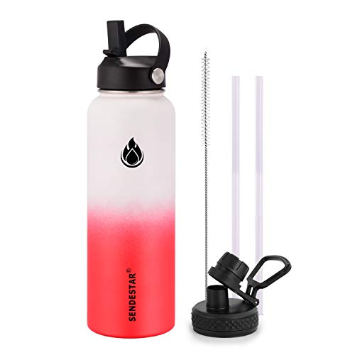 SENDESTAR Water Bottle 40oz Double Wall Vacuum Insulated Leak Proof Stainless Steel Sports Water Bottle—Wide Mouth with New Flex Straw Lid & Spout Lid (White&Red)