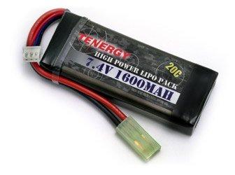 Tenergy LiPO 7.4V 1600mAh 20C Battery Pack for Airsoft (20c Battery)