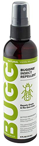 Buggins Natural Insect Repellent | DEET-Free, Repels Gnats & Flies, Plant Based, Vanilla Mint & Rose Scent, 4-oz (1) (Packaging may vary)