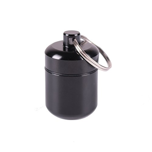 Airtight Stash Jar Smell Proof Durable Multi-Use Portable Metal Herb Jar Container. Waterproof Aluminum Screw-top Lid Lock Odor With Keyring (Black)